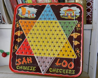 Metal Chinese Checkers board Vintage Great graphics and color