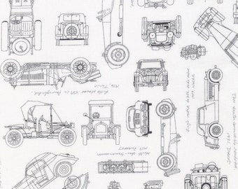 Vintage Cars Blueprints in Charcoal from Robert Kaufman Fabrics - fabric by the yard starting at a quarter yard