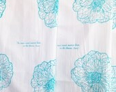 FLOUR SACK Rose Hand print Screenprint Tea Towel Turquoise Blue with Rumi Quote