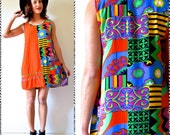 SPRING SALE/ 20% off Vintage 90s Out of Africa Tribal Print Cotton Shift Dress
