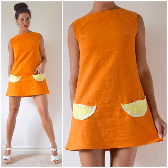 Vintage 60s 70s Fresh Squeezed Tangerine Orange Mini Shift Dress with Embroidered Lemon Wedge Pockets (size small, medium)