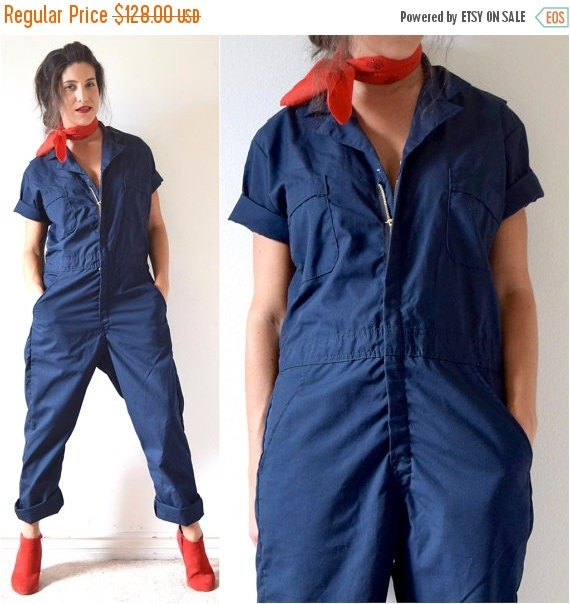 SUMMER SALE / 20% off Vintage 80s 90s Navy Blue Short Sleeved Unisex Coveralls