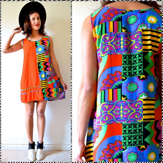 Vintage 90s Out of Africa Tribal Print Cotton Shift Dress