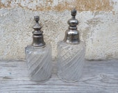 Vintage 1900s Victorian French  Vanity/Perfume glass bottles style Baccarat set of 2