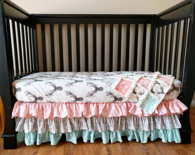 Featured listing image: Woodland Bedding Baby Girl  - Floral Stag Crib Set for Baby Girl - Woodland Baby Bedding Bumperless Bedding - Crib Sheet - Ruffle Skirt