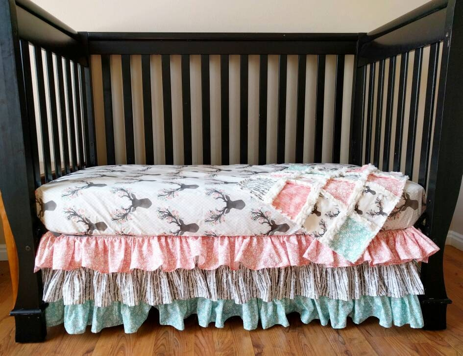 Woodland Bedding Baby Girl Floral Stag Crib Set For Baby