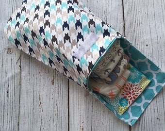 Navy and Blue Houndstooth Diaper Clutch