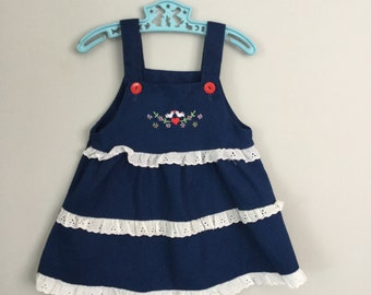 Vintage Embroidered Love Birds Ruffled Navy Blue Jumper 3t