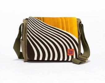 Jette - Canvas Saddle Bag | Retro Handbag | Shoulder bag | upcycled canvas saddle bag with original vintage fabric by EllaOsix
