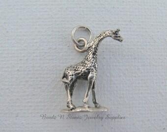Vintage Sterling Silver 3D Giraffe Jewelry Charm, Vintage Charm