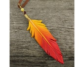Red and Yellow Phoenix Feather - Leather Firebird Bird Feather Pendant - 3 inches