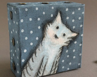 Painting of tabby cat, Grey Cat painting, mini painting, acrylic on canvas, tabby cat portrait painting for cat lovers  Bernadette Artwork