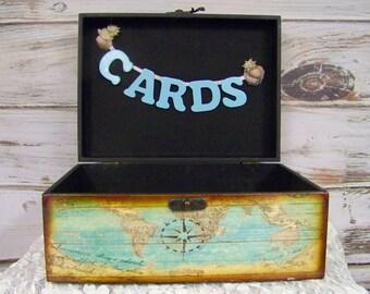 Wedding Card Box, Beach Wedding, Nautical Card Box, Beach Card Box, Decorative Card Box