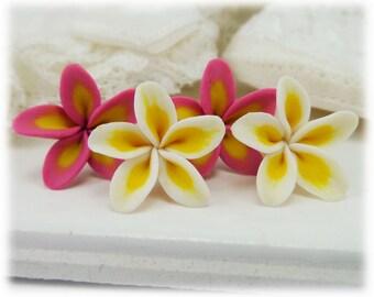 Plumeria Earrings Stud or Clip On - Frangipani Stud Earrings, Plumeria Jewelry