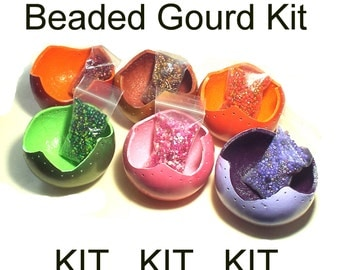 Beaded Gourd Kit Easy Beading Craft Kit Project Complete Tutorial Materials Supplies DIY Crafting Do It Yourself Color Choices Fun Creative