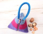 Triangle Pouch in Pink Purple and Blue Stripes