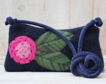 Navy Blue Mohair Recycled Sweater Cross Body Purse
