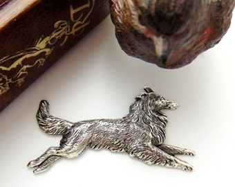 SILVER Collie Dog Stamping - Jewelry Antique Silver Findings (CA-3012) #
