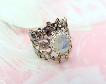 SILVER RING - Filigree Floral Moonstone Ring ~ Antique Silver Adjustable Statement Ring (TT)