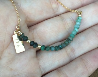 Ombre Emerald Necklace Personalized Custom Hand Stamped Necklace May Birthstone Bridal Bridesmaids Gift Jewelry Anniversary Necklace