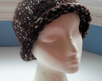 Beanie hat, chunky, handknitted, warm, chocolate brown, wool ribbon mix