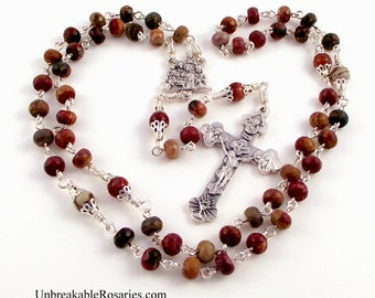 Holy Family With Wise Men Rosary Beads In Red Turquoise with Trinity Jubilee Crucifix by Unbreakable Rosaries