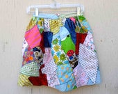 VIntage Funky Hand Made Patchwork High Waisted Childs or Teen Skirt / Child or Teen Vintage