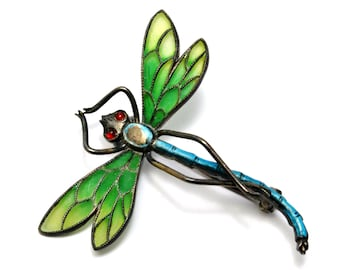 Antique Art Nouveau 900 silver signed green plique a jour enamel dragonfly brooch
