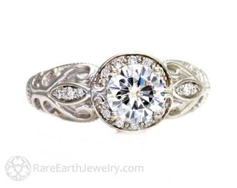 Platinum Diamond Engagement Ring 1ct Vintage Diamond Halo GIA Certified Diamond Art Nouveau Bridal Wedding Ring