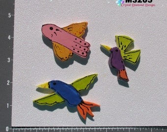 Pretty Birds  - Kiln Fired Handmade Ceramic Mosaic Tiles M3205