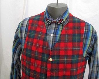 Pendleton Vintage 60s Tartan Vest Red plaid wool Pendleton tartan vest goldtone metal buttons Red wool vest 42 M