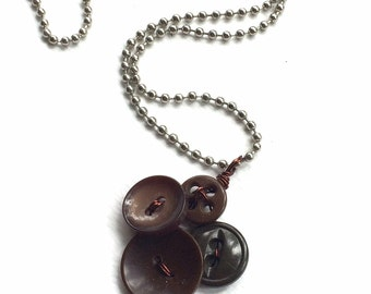 Small Brown Vintage Button Pendant Necklace