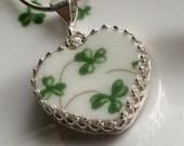 Broken China Jewelry Necklace, Royal Tara China, Irish Wedding Necklace, Birthday Gift from Ireland, Green Shamrock