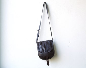 1903 CROSSBODY bag - small dark brown leather and waxed canvas bag - lightweight travel bag