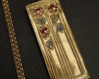 Daisies Art Deco necklace - colorized