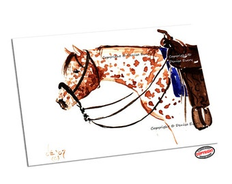 Appaloosa Horse Art ACEO Equine Western Tack Bosal Hackamore American Equine Art ACEO & 4x6 Print (Free US Shipping)