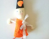 Handmade Cloth Doll, rag doll, cloth doll, art doll, fabric doll, Mini Autumn Elfie