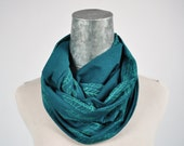 Limited Edition Color, Infinity Scarf, Deep Teal Feather, Screenprint, Eco Friendly Bamboo, Circle Scarf, oiselle