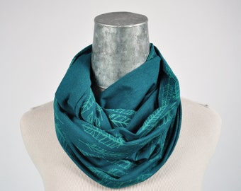 Infinity Scarf Circle Scarf Cowl Jersey fabric scarf teal scarf fabric scarf screenprint oiselle feather scarf gift for her teal blue