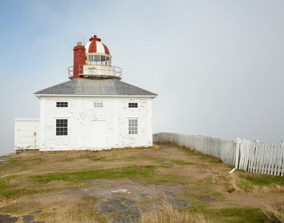 Lighthouse Print, Coastal Wall Art, Cape Spear Newfoundland Canada, Ocean Nautical Decor, Rustic Architecture Photo, Blue White Green