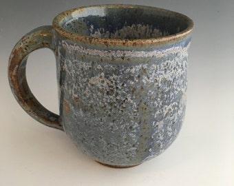 Handmade Coffee Mug - Blue - Creamy - Brown - Cream - Handmade - Speckled - 13 oz