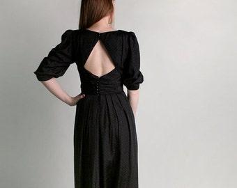 ON SALE Vintage Lanz Dress - 1980s Black Open Back Diamond Goth Dress - Medium