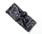Tie Up Headscarf // Fashion Headband // Stretch Hair Wrap // Lightweight Black and Grey Leopard Burnout