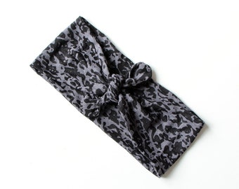 Tie Up Headscarf // Fashion Headband // Stretch Hair Wrap // Lightweight Black and Grey Leopard Burnout