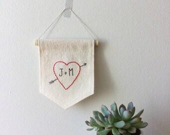 Cupid Arrow Embroidery, Custom Valentine Gift, Custom Initial Gift, Red Valentine Heart, Gift For Couple, Valentine Canvas Banner, Wall Flag