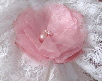 Pink Organza Brooch, Fabric Flower Brooch, pink pearl