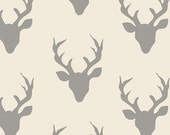 Hello Bear fabric, Deer Fabric by Bonnie Christine for Art Gallery Fabrics, Ivory fabric- Woodland Animal, Buck Forest in Silver