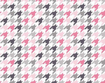 SALE fabric, Pink fabric, Houndstooth fabric, Girls fabric, Cotton fabric by the yard, Riley Blake, Choose your cut. Free shipping available