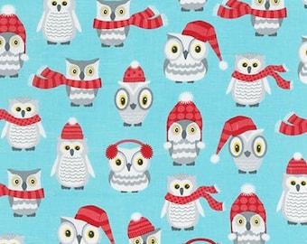 Owl Fabric, Winter fabric, Christmas Fabric, Cotton Fabric, Aqua fabric, Polar Pals fabric, Winter Owls in Aqua,  Choose your cut