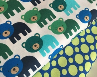 Bear fabric, Boy fabric, Nursery fabric, Childrens fabric, Woodland Pals by Ann Kelle for Robert Kaufman, Bundle of 2- Choose the Cut